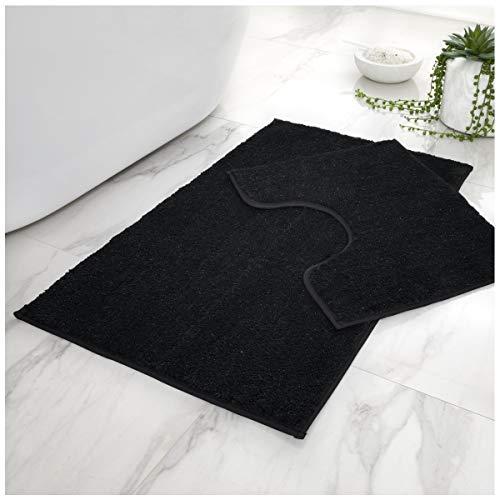 Superweiches 2-teiliges Badvorleger-Set, rutschfest, wasserabsorbierend, für Badezimmer, WC-Vorleger, Standardgröße (50 x 80, 50 x 40 cm), schwarz