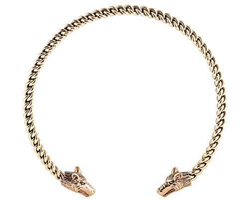 Windalf Mächtiger Vintage Krieger Halsreif STARK Ø 14 cm Wikinger Halsschmuck Vikings Torques Halskette gelochten Hochwertige Bronze
