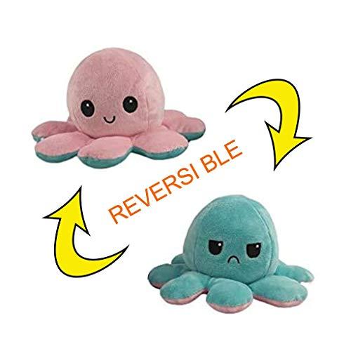 Oktopus Kuscheltier Zum Wenden Flip Plüsch Oktopus Spielzeug Puppe Doppelseitiger Flip Reversibel Sanft Tintenfisch Kinder Süß Tier Cartoon Spielzeuge Geschenk Kinderspielzeug