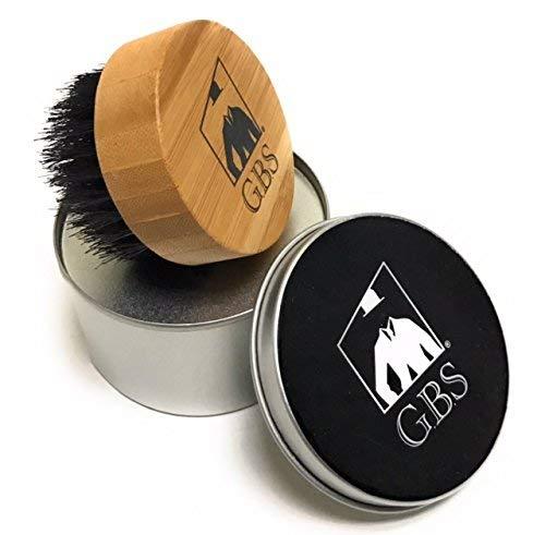 GBS Rodada Beard Brush - Escova de madeira premium Bamboo Compact Com Firm Cerdas de domar e suavizar o seu cabelo facial - Vem com viagem vasilha! Perfeito para uso on-the-go!