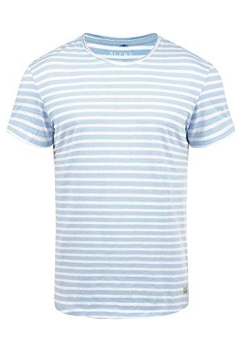 Blend Genesis Herren T-Shirt Kurzarm Shirt Streifenshirt Mit Streifen Und Rundhalsausschnitt, Größe:L, Farbe:Soft Blue (74641)