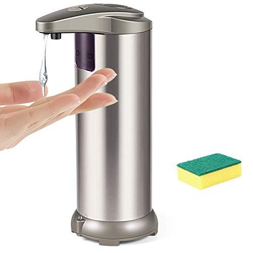 YUNFUN Dispensador de jabón, dispensador de líquido, Soporte desinfectante, Bomba dispensadora automática de jabón Soporte de jabón líquido de Acero Inoxidable con detección de Infrarrojos