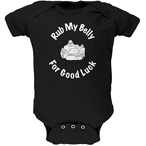 Old Glory Buddha Rub My Belly Good Luck Black Soft Baby One Piece - 18-24 Months