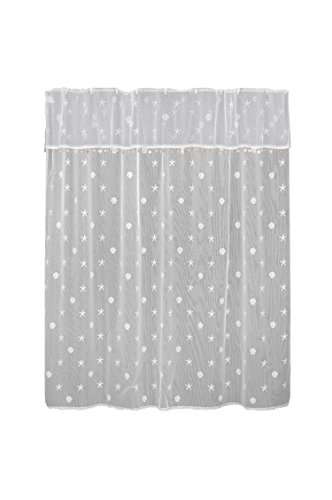 """Heritage Lace Sand Shell Shower Curtain and Valance Set, 72"""" by 72"""", White"""