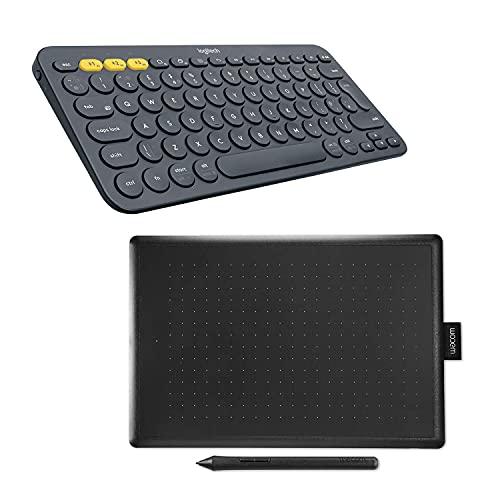 Logitech K380 Teclado Inalámbrico Multi-Dispositivo, Bluetooth y Wacom One Medium, Tableta gráfica con lápiz digital sensible a la presión, Pack óptimo para trabajar en casa y e-Learning