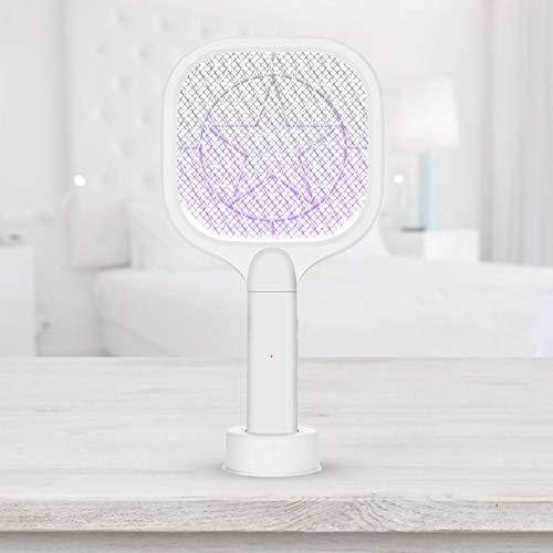vincente Matamoscas eléctrico 2 en 1, matamoscas con iluminación LED, USB, recargable, color blanco