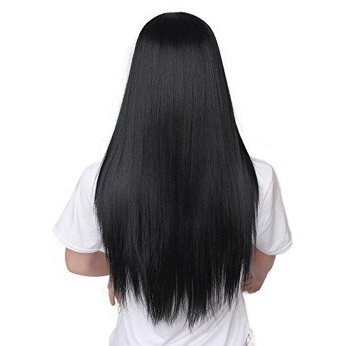 Kashyk 65cm Schwarze Lange Glatte Haare der Damen, natürliche Glatte Glatte Haare Perücke, Schicht langes Feiertagshaar, hitzebeständige Kunstfaser, Cosplay, täglich, Foto