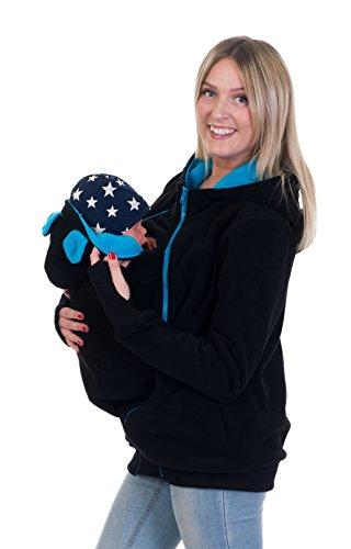 Divita 3in1 Tragejacke Umstandsjacke mit süssen Bärchen Ohren für Tragetuch Babytrage Fleece für Baby und Mama 46 (S/M (36/38), Schwarz/Türkis)