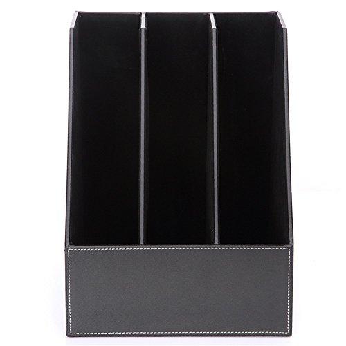 AZHom en Cuir Triple Desktop File Box Titulaire de fichier boîte de Stockage de données de Mode Business Office Supplies (Color : Brown)