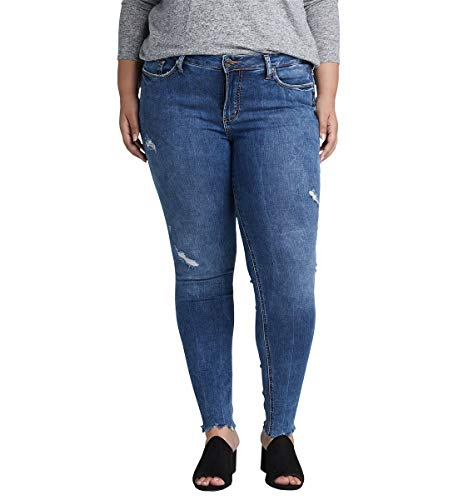Silver Jeans Co. Women's Plus Size Elyse Curvy Mid Rise Skinny Fit Jean, Distressed Medium Indigo Wash, 16W X 31L