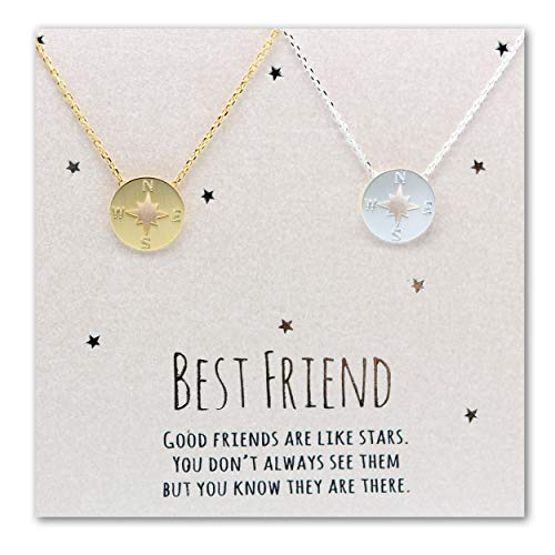 compass necklace, Best friend necklace for 2, BFF Necklace, friendship necklace for 2, silver dainty necklace, Christmas gift, Graduation gifts, valentines
