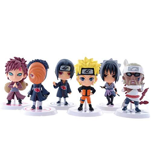 Loheag Clinor Naruto Mini Figur Set, Naruto Sammelfigur Standard Naruto Shippuden Figur - Uzumaki Naruto/Uchiha Itachi/Uchiha Sasuke/Uchiha Obito/Gaara/Kirabi