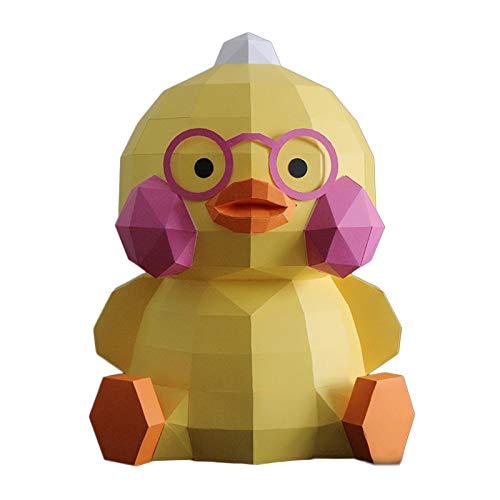 WLL-DP Aspecto De Pato Gordito Rompecabezas De Origami Hecho A Mano Escultura De Papel 3D Arte De Papel DIY Estereoscópico Decoración del Hogar Papel De Arte Modelo De Papel De Juguete