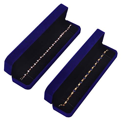 iSuperb ジュエリーボックス 2枚入 ジュエリーケース 携帯用 ピアス イヤリング ネックレス 指輪 ブレスレット 収納 (ブレスレットボックス2枚)