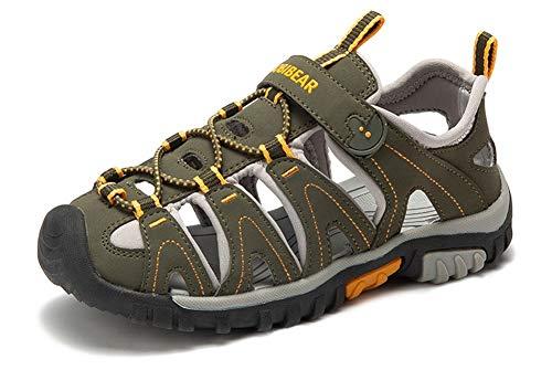 Gaatpot Unisex-Kinder Sandalen aus Leder fur Jungen Madchen Sommer Trekking Sandalette Sport- Outdoor Strand Wanderschuhe Grun 35 EU,Etikette 35