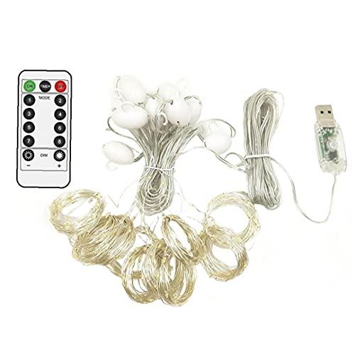Ejaarliyam Cortina de Hadas Luz - Control Remoto 3x3m LED Luz de Cadena de Ventana Blanca Caliente, Enchufe USB, para Fiesta de Boda Casa de Navidad Dormitorio Decoración Colorida