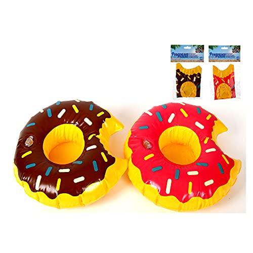 LA RUTA 12 Piezas Flotador Inflable Posavasos Donut para Bebidas en Piscina + Inflador Portátil, Flotante Taza Soporte para Fiesta de Piscina Playa Mini Juguetes Hinchables (886819)