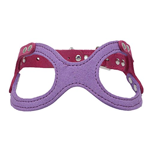 Dogs Kingdom Classic Leather Belt Dog Harness Dog Eyeglass Chest Strap Double-Sided Ultra-Fiber Material Purple M