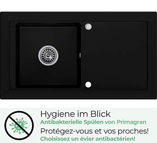 Évier granit Primagran, Noir, 1 bac, avec siphon...