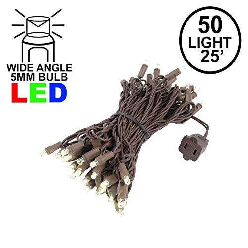 Novelty Lights 50 Light LED Christmas Mini Light Set, Outdoor Lighting Party Patio String Lights, Warm White, Brown Wire, 25 Feet
