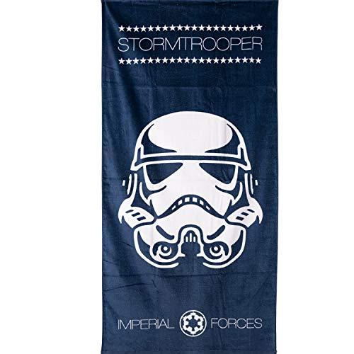Disney Star Wars Serviette de bain 100 % coton Motif Stormstrooper Bleu marine