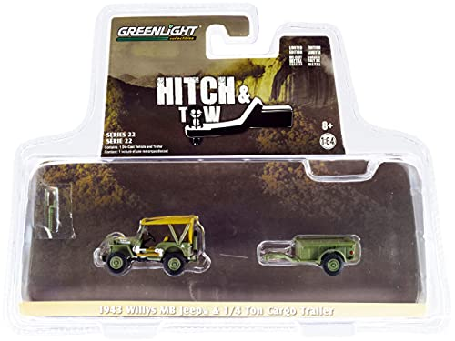 1943 Willys MB Army Green with Brown Top and 1/4 Ton Cargo Trailer Army Green Hitch & Tow Series 22 1/64 Diecast Model Car by Greenlight 32220 A