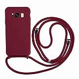 2ndSpring Funda con Cuerda Compatible con Samsung Galaxy S8 Plus,Colgante Collar Correa de Cuello Cadena Cordón,Silicona Suave Rojo