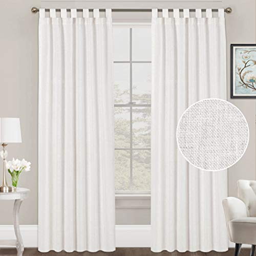 FantasDecor White Linen Curtains Natural Linen Blended Curtains Tab Top Curtains Privacy Added Window Treatments Drapes for Living Room Light Filtering Curtains 2 Panels, 52 by 84 Inches, White