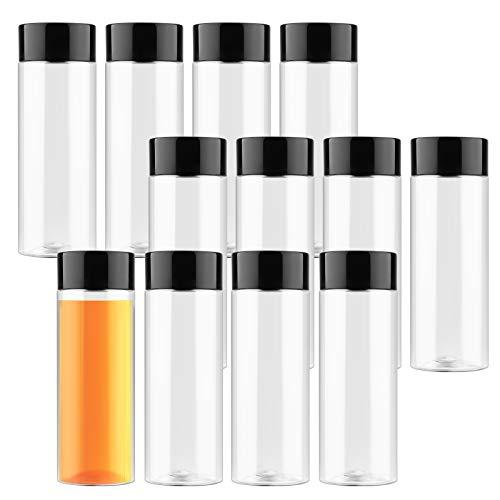 Fancywhoop Leere Plastikflaschen Empty Plastic Bottles 12 Pack Klare Flaschen Zum Befüllen 400ml Klare Saftflaschen aus PET-Kunststoff mit Deckel für Wasser Milch Hausgemachte Getränke