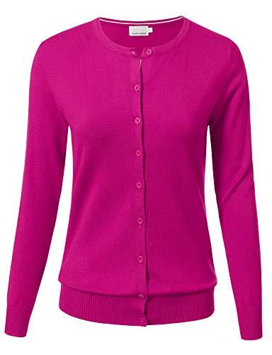 Allsense Women Button Down Long Sleeve Crewneck Soft Knit Cardigan Sweater M Hot Pink