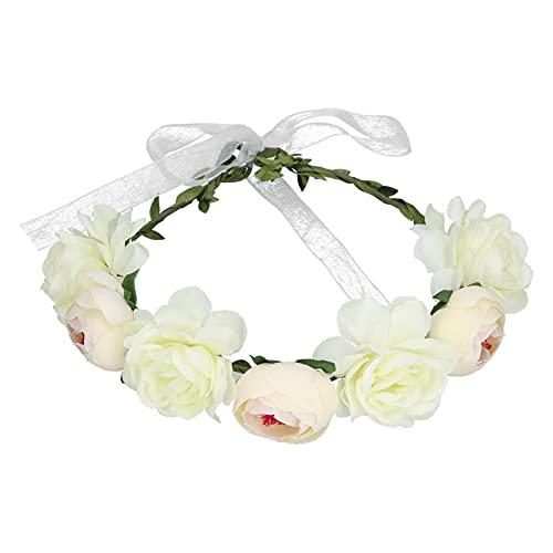 Corona de pelo, diadema de flores ajustable de poliéster con cinta para bodas, fiestas, festivales, playas, tomar fotos(blanco)