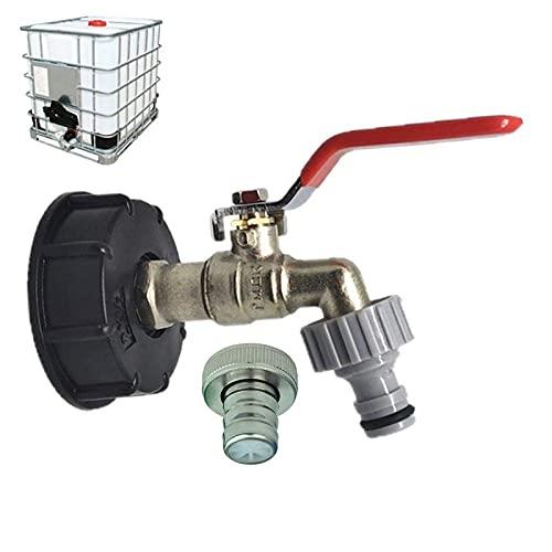 CSPone IBC 1000L Wassertank Zubehör Auslaufhahn Regentonne 1000 Liter 1000L Wassertank -IBC Tote Tank Ablassadapter Für Lebensmittelqualität 1/2