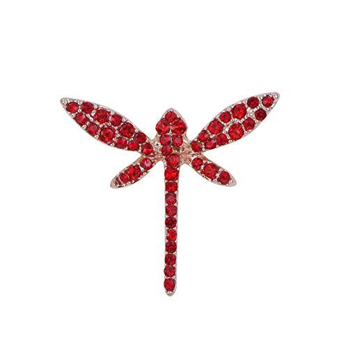 RelaxLife Broche Diamantes De Imitación De Cristal Azul O Rojo Lindos Broches De Libélula para Mujeres O Niños En Color Oro Rosa