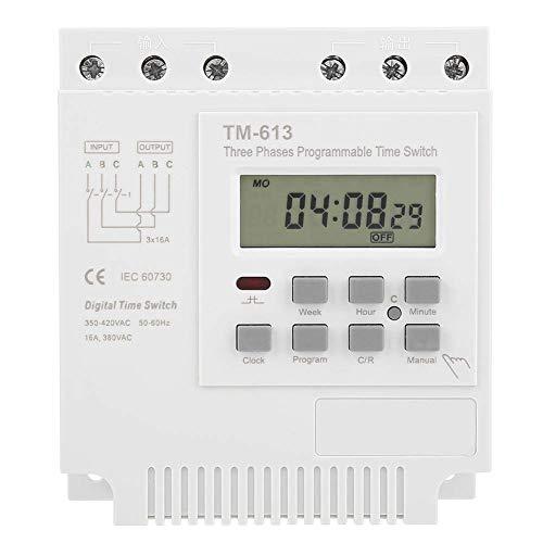 Yongenee Programable Relé de tiempo, TM-163 / 380V 50-60 Hz Fases Tres interruptor digital inteligente programable semanal del reloj programador de energía for la bomba de agua del estanque de peces O