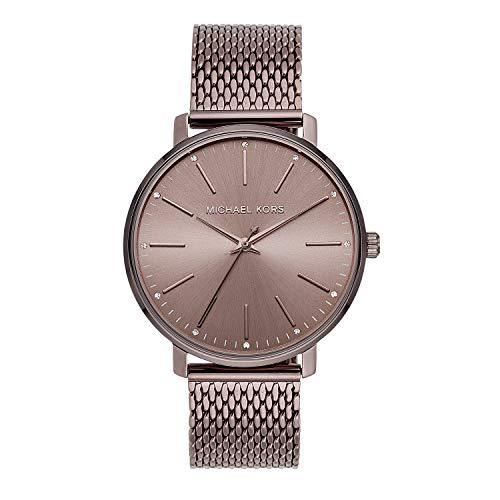 Michael Kors - Reloj de cuarzo para mujer (acero inoxidable, correa de piel de becerro)