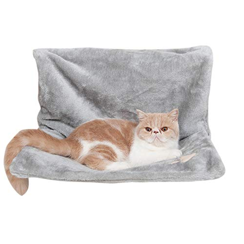 GODGETS Amaca Cuccia da calorifero per Gattini Stile Amaca in Pile, Pieghevole, Resistente e Durevole,Grigio,46×30×25 CM