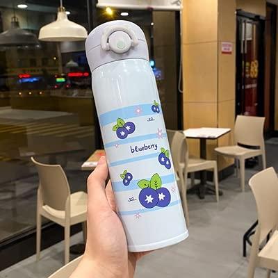 XYAN Fruits créatifs acier inoxydable bouteille d'eau d'eau en acier inoxydable mignonne enfants thermos bouteilles portables élève étanche (Couleur : 500ml Blueberry)