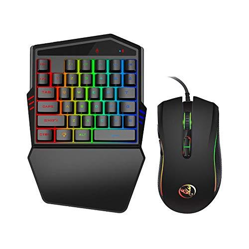 YR Eine Hand RGB Gaming Tastatur und Maus Combo, 35 Tasten Wired Mechanische Gefühl Regenbogen Von hinten beleuchtete Halb Tastatur, Unterstützung Handgelenkstütze, für LOL/PUBG/Wow/Dota/OW