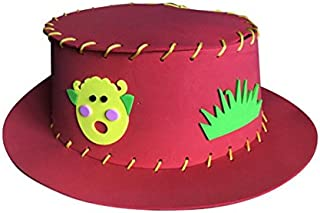 Perfect Party Decoration Holiday Accessories EVA Straw Hat Cartoon Grasses Pattern Hat Christmas Decorative Hat_Red