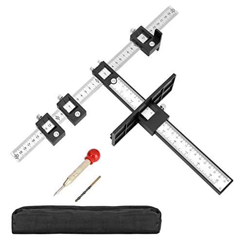 JIELISI Herramienta de plantilla para gabinete de hardware de gabinete ajustable para perforación, guía de taladro, para manijas y tiradores, pulgadas y métricas con punzón central automático + broca