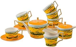 Tea Set Van Gogh Inspired - Real Bone China Tea Set by Gute (COMPLETE SET, 15 Pieces) : 1 Teapot, 1 Cream Pitcher, 1 Sugar Bowl, 6 Teacups & 6 Saucers.) (The Harvest)
