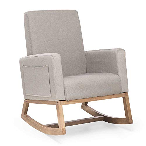 Semper Rocking Chair, Modern Fabric High Back Armchair Upholstered Rocker Padded Seat with Wood Base Relax Chair (Beige- Burlywood Leg #1)