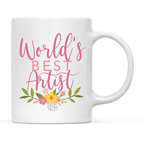 Taza de café Gag, Mejor Artista del Mundo, diseño Floral Rosa, Hermosas Ideas únicas cumpleaños de Taza de Flores para su Mujer, Esposa, Hermana, 11 oz