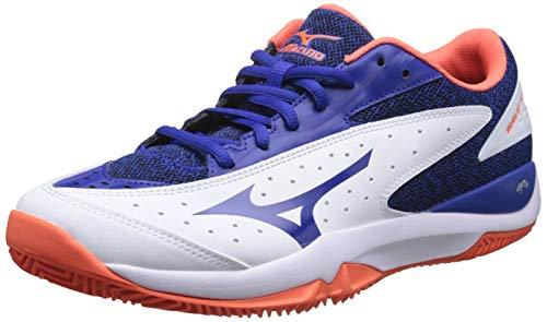 Mizuno Wave Flash CC, Scarpe da Tennis Uomo, Bianco (White/Reflex Blue/Nasturtium 27), 45 EU