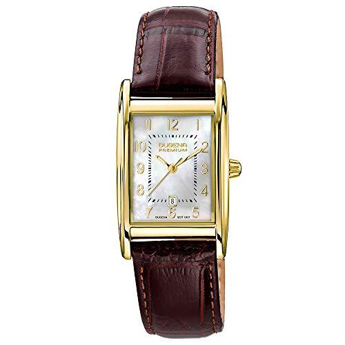 Dugena Damen Quarz-Armbanduhr, Saphirglas, Lederarmband, Quadra Artdéco, Braun/Gold, 7000121-1