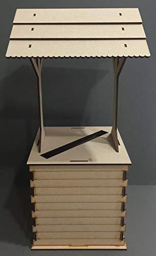 Genérico * Buzón FLA Box Flat LL Post B Pack Grande Boda MDF Mesa Soporte Carrito Carrito Carrito Wishing Well Poste Mesa S Boda MDF