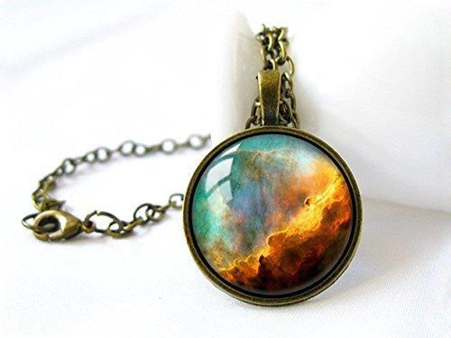 Collar de galaxia, collar de nebulosa, collar vintage, joyería espacial, joyería vintage, collares de moda, collar de cúpula de cristal hecho a mano, joyería de arte con colgante
