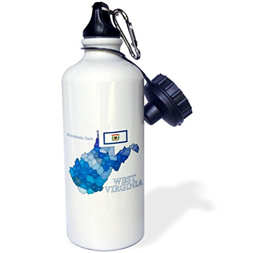 3dRose Flag and County map of West Virginia with State Name and Nickname-Sports Water Bottle, 21oz (wb_219693_1), 21 oz, Multicolor