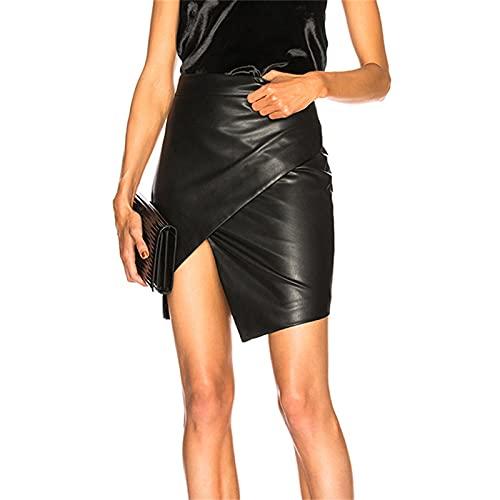 EverNight Falda De Cuero Sintética De Las Mujeres, Faldas De Botines Asimétricos Brillantes Metálicos De Cintura Alta, Mini Faldas De Lápiz