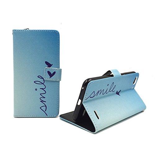 König Design Handyhülle Kompatibel mit Vodafone Smart Ultra 6 Handytasche Schutzhülle Tasche Flip Hülle mit Kreditkartenfächern - Smile Blau